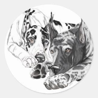Great Dane Inseparable Round Sticker