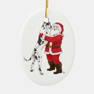 Great Dane Jowly Christmas Greeting Christmas Ornament