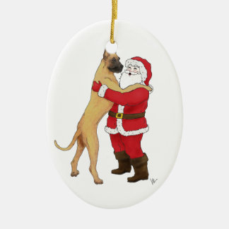 Great Dane Jowly Christmas Greeting Christmas Ornament