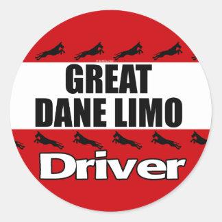 Great Dane Limo Driver Classic Round Sticker