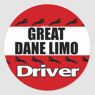 Great Dane Limo Driver Round Sticker