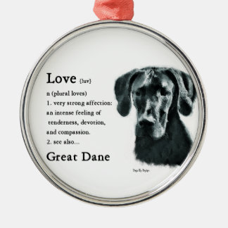 Great Dane Love Is Silver-Colored Round Decoration