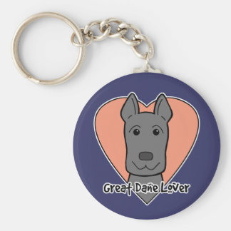 Great Dane Lover Basic Round Button Key Ring