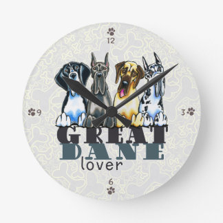 Great Dane Lover Round Wallclocks