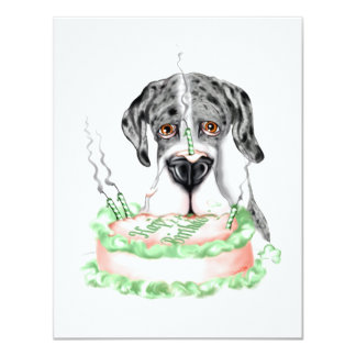 Great Dane Merle UC Birthday Cake Card