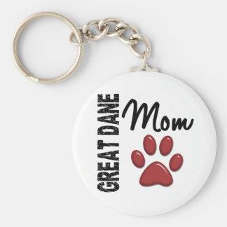 Great Dane Mom 2 Basic Round Button Key Ring