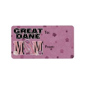 Great Dane MOM Address Label