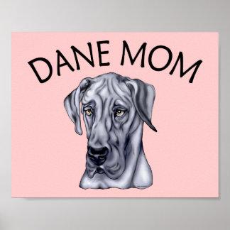 Great Dane Mom Blue UC Poster