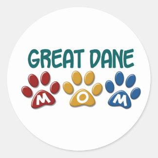 GREAT DANE Mom Paw Print 1 Classic Round Sticker