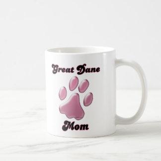 Great Dane Mom Pink Pawprint  Mugs