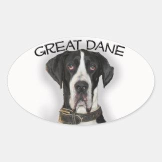 Great Dane - Natural Ears Oval Sticker