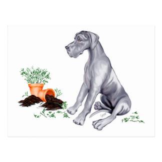 Great Dane Naughty Pup Blue UC Postcards