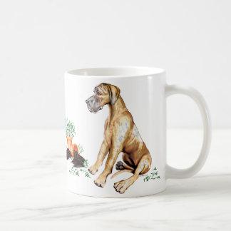 Great Dane Naughty Pup Brindle UC Basic White Mug