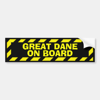 Great Dane on board black yellow caution sticker Bumper Sticker