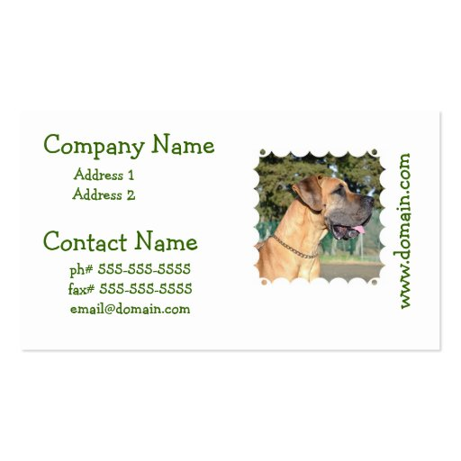 Great Dane Photo Business Cards
