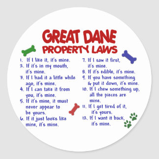 GREAT DANE Property Laws 2 Classic Round Sticker