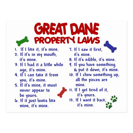 GREAT DANE Property Laws 2 Post Card