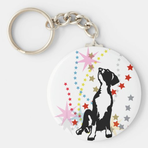 Great Dane Puppy with stars Keychains