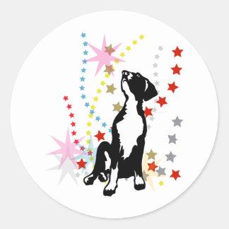 Great Dane Puppy with stars Round Sticker