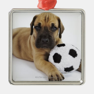 Great Dane puppy with toy soccer ball Silver-Colored Square Decoration