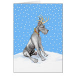 Great Dane Reindeer Christmas Black Greeting Card