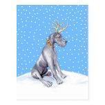 Great Dane Reindeer Christmas Blue UC
