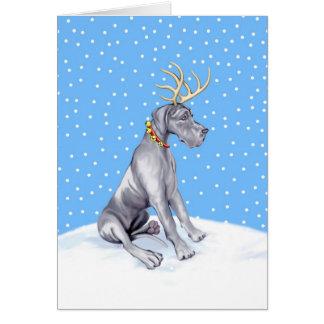 Great Dane Reindeer Christmas Blue UC Card