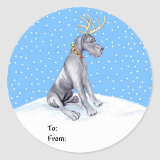 Great Dane Reindeer Christmas Blue UC Gift Tags Round Sticker