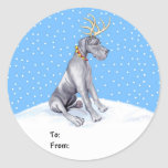 Great Dane Reindeer Christmas Blue UC Gift Tags Round Stickers