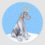 Great Dane Reindeer Christmas Blue UC Round Stickers