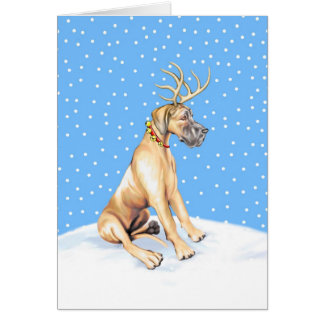 Great Dane Reindeer Christmas Fawn UC Card