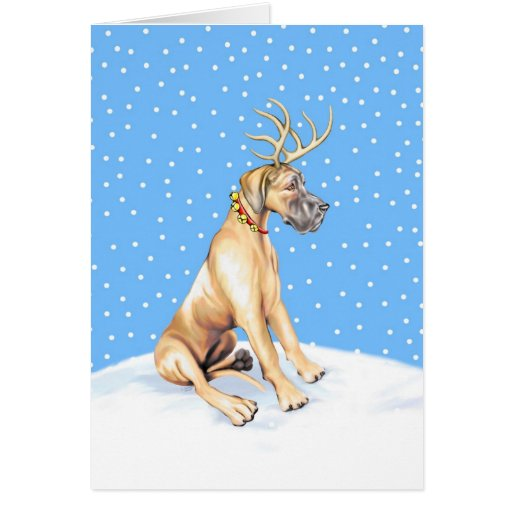 Great Dane Reindeer Christmas Fawn UC Cards