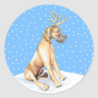 Great Dane Reindeer Christmas Fawn UC Classic Round Sticker