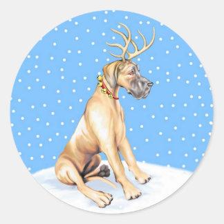 Great Dane Reindeer Christmas Fawn UC Round Sticker
