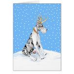 Great Dane Reindeer Christmas Harlequin