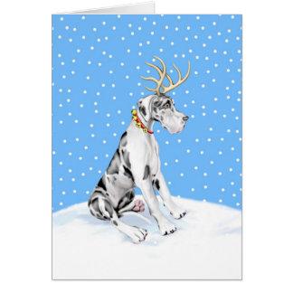 Great Dane Reindeer Christmas Harlequin UC Card