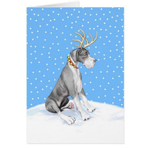 Great Dane Reindeer Christmas Mantle UC Greeting Card