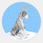 Great Dane Reindeer Christmas Mantle UC Round Stickers