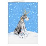 Great Dane Reindeer Christmas Merle UC Greeting Card