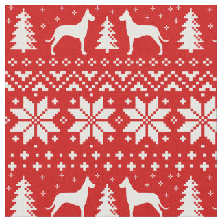 Great Dane Silhouettes Christmas Pattern Fabric