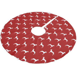 Great Dane Silhouettes Pattern Red Brushed Polyester Tree Skirt