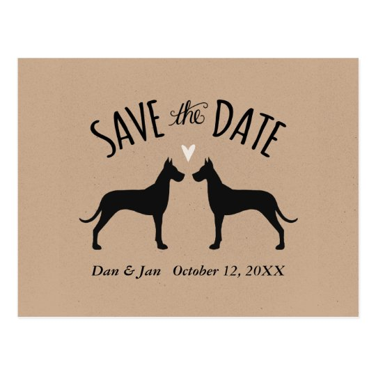 Great Dane Silhouettes Wedding Save the Date Postcard