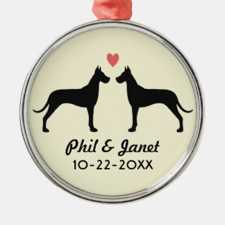 Great Dane Silhouettes with Heart and Text Silver-Colored Round Decoration