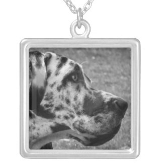 GREAT DANE SILVER PLATED NECKLACE