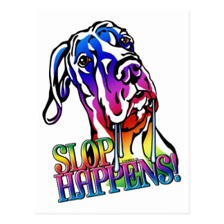 Great Dane Slop Happens Bright UC Postcard