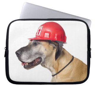 Great Dane wearing a red construction helmet Laptop Sleeves