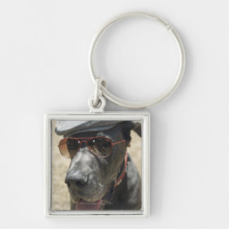 Great Dane wearing hat and sunglasses Silver-Colored Square Key Ring