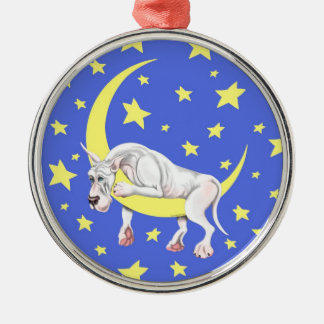 Great Dane White Twinkle Silver-Colored Round Decoration