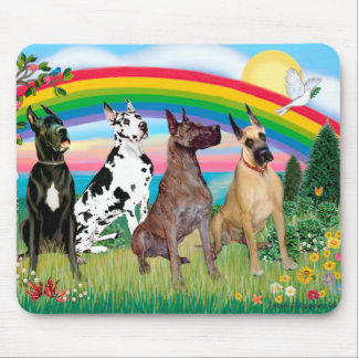 Great Danes (four) - Rainbow Bright Mouse Pad