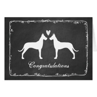 Great Danes Wedding Congratulations Card
